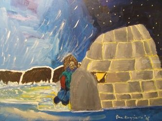 Igloo Greenland, Paintings, Fine Art, Landscape, Canvas,Oil, By Pamela Ruggiero