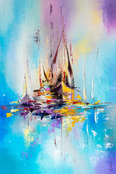 Illusive boats, Paintings, Abstract, Landscape,Seascape, Oil, By Liubov Kuptsova