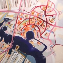 Imaginary map of Abu Dhabi, Paintings, Abstract,Fine Art, Cityscape, Canvas,Oil, By federico cortese