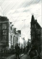 Impression of an Amsterdam<br>sunset - 17-11-14, Drawings / Sketch, Abstract,Fine Art,Impressionism,Realism,Surrealism, Architecture,Cityscape,Composition,Figurative,Inspirational,Landscape, Pencil, By Corne Akkers