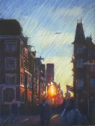 Impression of an Amsterdam<br>sunset - 19-12-14, Drawings / Sketch, Abstract,Expressionism,Fine Art,Impressionism,Realism, Architecture,Cityscape,Composition,Figurative,Inspirational,Landscape, Pastel, By Corne Akkers