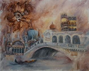 IMPRESSIONS OF VENICE, Paintings, Abstract,Fine Art,Impressionism, Cityscape, Oil, By Yuliya Zelinskaya