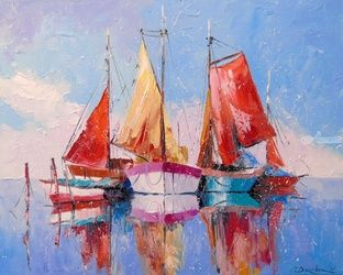 In a quiet Harbor, Paintings, Impressionism, Landscape,Nature,Seascape, Canvas,Oil,Painting, By Olha   Darchuk