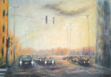 In morning traffic, Paintings, Fine Art,Impressionism, Cityscape, Oil,Wood, By Angela Suto