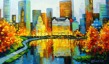 In New York's Central Park, Paintings, Expressionism,Impressionism, Architecture,Landscape, Canvas,Oil,Painting, By Olha   Darchuk