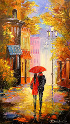 In the city of rain for two, Paintings, Impressionism, Architecture,Land Art,Landscape,Nature,People, Canvas,Oil,Painting, By Olha   Darchuk