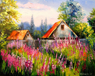In the summer in the village, Paintings, Impressionism, Botanical,Floral,Landscape,Nature, Canvas,Oil,Painting, By Olha   Darchuk