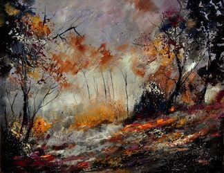 in the wood 450160, Architecture,Decorative Arts,Drawings / Sketch,Paintings, Expressionism, Landscape, Canvas, By Pol Ledent