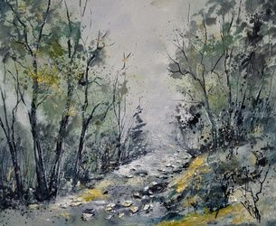 In the wood 6571, Architecture,Decorative Arts,Drawings / Sketch,Paintings, Impressionism, Botanical, Canvas, By Pol Ledent