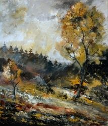 In the wood 6771, Architecture,Decorative Arts,Drawings / Sketch,Paintings, Impressionism, Landscape, Canvas, By Pol Ledent
