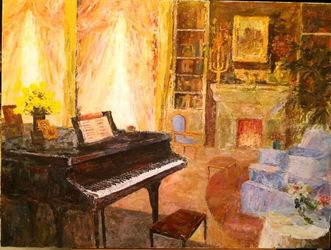 Interior with piano, Paintings, Impressionism, Daily Life, Acrylic, By slobodan paunovic