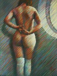 Into the light - 15-06-17, Drawings / Sketch, Fine Art,Impressionism,Realism,Surrealism, Anatomy,Composition,Erotic,Inspirational,Nudes,People, Pastel, By Corne Akkers
