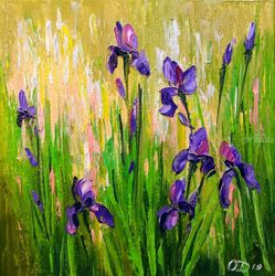 Irises, Paintings, Impressionism, Botanical, Canvas, By Olha   Darchuk