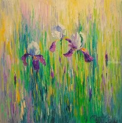 Irises, Paintings, Impressionism, Botanical,Floral,Nature, Canvas,Oil,Painting, By Olha   Darchuk