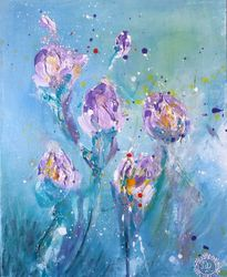 Irises, Paintings, Fine Art, Botanical,Floral,Nature, Acrylic,Canvas, By ArtRuDi ArtRuDi