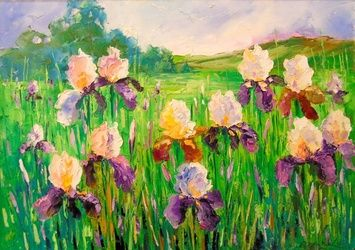 Irises in field, Paintings, Impressionism, Botanical,Floral,Nature, Canvas,Oil,Painting, By Olha   Darchuk