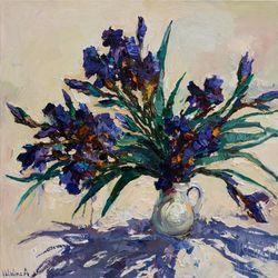 Irises still life painting 80<br>x 80 cm Original oil painting, Paintings, Impressionism, Floral,Still Life, Canvas,Oil, By Anastasiya Valiulina