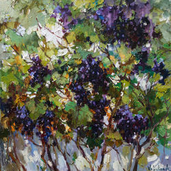 Isabella grapes, Paintings, Impressionism, Floral,Nature, Canvas, By Anastasiya Valiulina