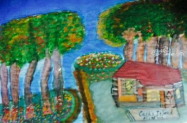 Island Bungalow., Drawings / Sketch,Paintings, Fine Art, Landscape,Seascape, Clay,Mixed, By Catherine Bayani