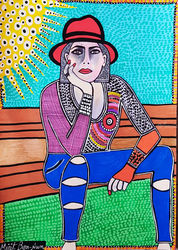 Israel artist woman jewish<br>painter autentic paintings<br>Mirit Ben-Nun, Paintings, Pop Art, People, Ink, By Mirit Ben-Nun
