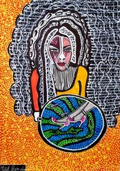 Israel artist woman painter<br>autentic paintings Mirit<br>Ben-Nun, Paintings, Expressionism, People, Ink, By Mirit Ben-Nun