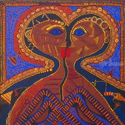 Loving couple, Paintings, Primitive, Fantasy, Acrylic, By Mirit Ben-Nun