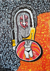 Israeli artist woman Mirit<br>Ben-Nun decorative modern art, Paintings, Expressionism, People, Ink, By Mirit Ben-Nun