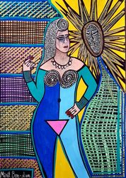 Israeli woman Mirit Ben-Nun<br>decorative modern art, Paintings, Pop Art, People, Ink, By Mirit Ben-Nun