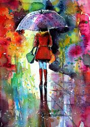 It's raining again, Paintings, Impressionism, People, Watercolor, By Kovacs Anna Brigitta