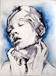 IV / SERIES OF PORTRAITS IN<br>INK, Paintings, Commercial Design,Expressionism,Fine Art, Figurative,Portrait, Ink, By Anna Sidi Yacoub