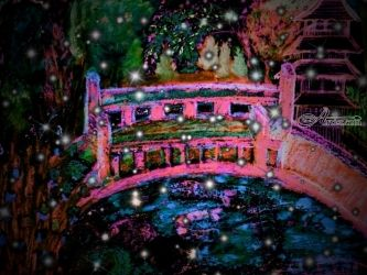 Japanese Bridge Garden At<br>Night., Digital Art / Computer Art,Paintings, Fine Art,Impressionism, Landscape, Mixed,Painting, By Catherine Bayani