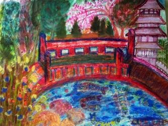 Japanese Garden: Inspired by<br>San Francisco's Japanese<br>Garden: Number 2 Version., Paintings, Fine Art,Impressionism, Botanical,Landscape,Nature, Clay,Ink,Mixed,Oil,Painting,Pencil,Watercolor, By Catherine Bayani