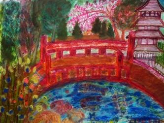 Japanese Garden: San Francisco<br>Derived. Original Version., Paintings, Impressionism, Landscape,Nature,Still Life, Canvas,Clay,Ink,Mixed,Oil,Painting,Pencil,Watercolor, By Catherine Bayani