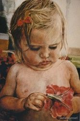 Jasmine flower, Paintings, Realism, Children, Watercolor, By James Cassel