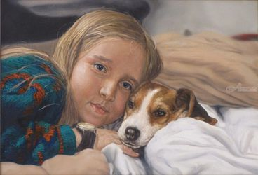 Jasmine with her beagle<br>Virginia, Drawings / Sketch,Paintings, Fine Art,Realism, Animals,Children,Daily Life,Figurative,People,Portrait, Oil,Painting, By James Cassel