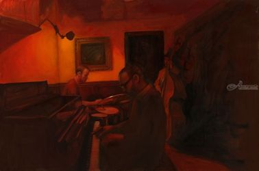 Jazz, Paintings, Impressionism, Avant-Garde, Canvas,Oil, By Michael Connors