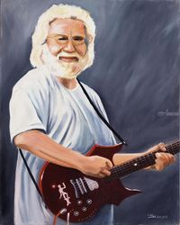Jerry Garcia, Paintings, Fine Art,Realism, Figurative,Inspirational,Music,People,Portrait, Canvas,Oil, By Rick Seguso