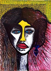 Jewish Israeli artist colorful<br>drawing, Drawings / Sketch, Expressionism, Portrait, Ink, By Mirit Ben-Nun
