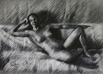 Julia -28-08-18, Drawings / Sketch, Fine Art,Impressionism,Realism, Anatomy,Composition,Figurative,Inspirational,Nudes,People, Pastel, By Corne Akkers