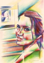 Julia Filament - 04-11-16<br>(sold), Drawings / Sketch, Abstract,Cubism,Fine Art,Realism,Surrealism, Anatomy,Composition,Figurative,Inspirational,People,Portrait, Pencil, By Corne Akkers