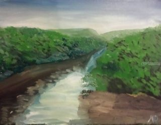 Juniata River, Paintings, Impressionism, Landscape, Oil, By MD Meiser