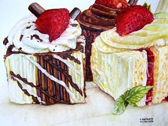 Just Cakes, Paintings, Fine Art, Still Life, Mixed, By Claudia Zamberia