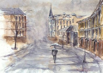 Kiev, Paintings, Realism, Architecture,Cityscape,Landscape, Watercolor, By Eugene Gorbachenko