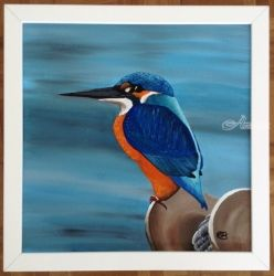 Kingfisher of Brixham, Paintings, Fine Art,Impressionism,Surrealism, Animals, Acrylic,Canvas, By Ann Biddlecombe