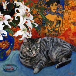 Kity and Klimt, Paintings, Realism, Still Life, Acrylic, By Annie Day