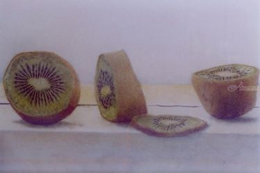 Kiwi, Paintings, Fine Art,Realism, Still Life, Watercolor, By James Cassel