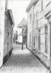 Kleine Laan at Voorburg -<br>05-06-14, Drawings / Sketch, Fine Art,Impressionism,Realism, Cityscape,Composition,Figurative,Inspirational,Landscape, Pencil, By Corne Akkers