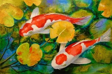 Koi fish, Paintings, Impressionism, Animals,Nature, Canvas,Oil,Painting, By Olha   Darchuk