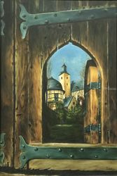 Kronberg castle, Paintings, Fine Art,Photorealism,Realism, Architecture,Cityscape,Historical,Landscape,Window on the World, Oil,Painting, By Abha Neotia