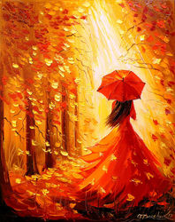 Lady autumn, Paintings, Impressionism, Botanical,Fantasy,Landscape,Nature, Canvas,Oil,Painting, By Olha   Darchuk